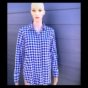 J Crew vibrant blue plaid shirt !